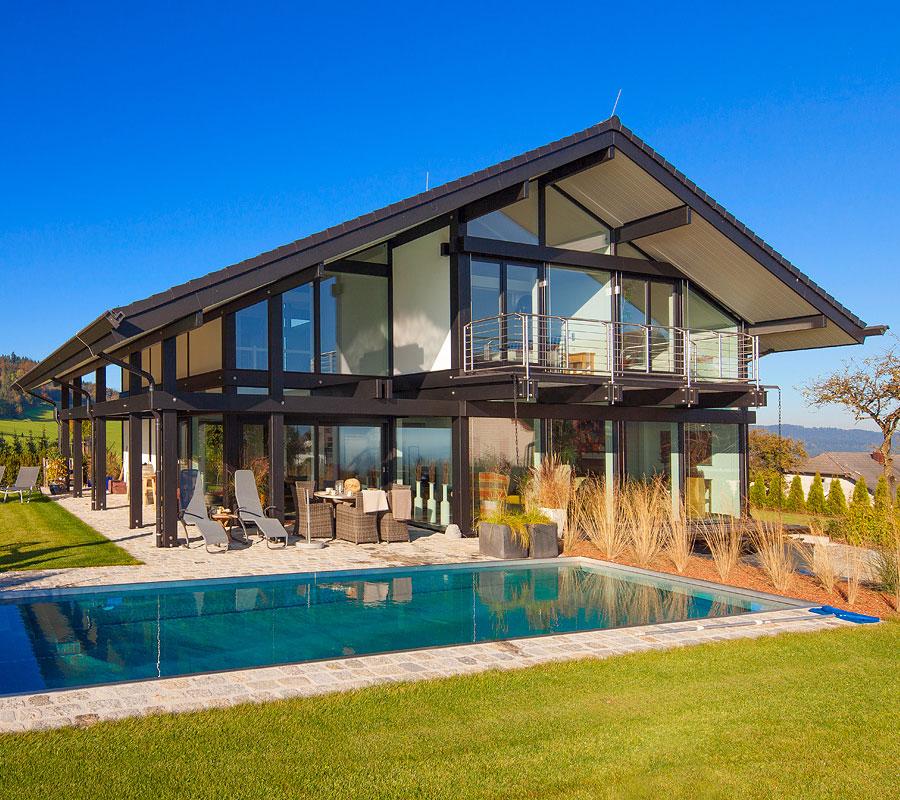 case in legno vetro in svizzera flock haus switzerland